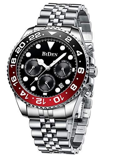 Uhr Herren Armbanduhr Wasserdicht Edelstahl Armband Kalender Leuchtend Business Datum für Männer-Schwarz
