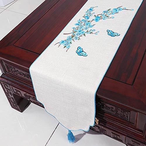 Nouveau Tissu de Tapis de thé Zen, Drapeau de Table en Coton et Lin, Meuble de télévision, Couvre-Chaussures, Couvre-Matelas rectangulaire(B; 33 * 300cm)