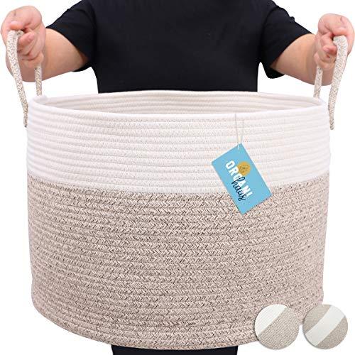 OrganiHaus XXL Large Rope Laundry Basket – Tastefully Appointed Extra Large Decorative Hamper, 100% Natural Cotton Storage Basket, Rope Basket, Toy Basket, Blanket Basket, Pillow Basket