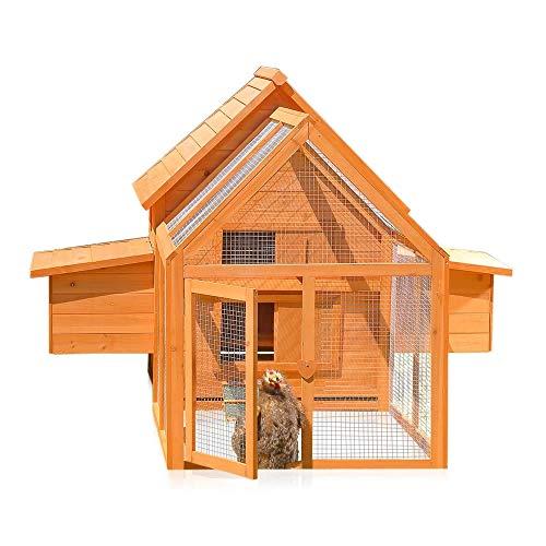 Melko Hühnerstall für 6-8 Hühner mit Freilaufgehege 156x164x112cm Hühnerhaus inkl. 2 Nestboxen