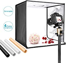 Neewer Photo Studio Light Box 20 inches/50cm Shooting Light Tent Adjustable Brightness Foldable Portable Professional Booth Table Top Photography Lighting Kit 120 LED Lights 4 Colors Backdrops