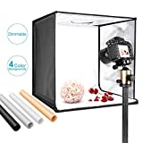 Neewer Foto Estudio Caja de Luz 40cm Disparo Carpa Brillo Ajustable Plegable Portable Professional Table Top Fotografía Kit de iluminación 120 Luces LED 4 Colores Telones de Fondo