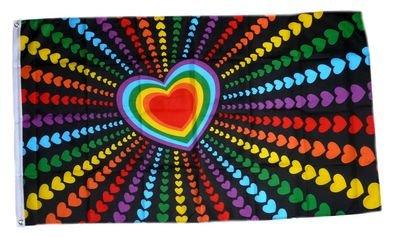 Fahne / Flagge Regenbogen Herz NEU 90 x 150 cm