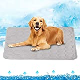 Große Hundekühlmatten, Selbstkühlendes Pad Für Haustiere Eisseidenmatte Hund/Katze Schlafkühler Decke Waschmaschinenfest Atmungsaktiv, Geeignet Für Den Heimgebrauch, Grau,100 * 70CM