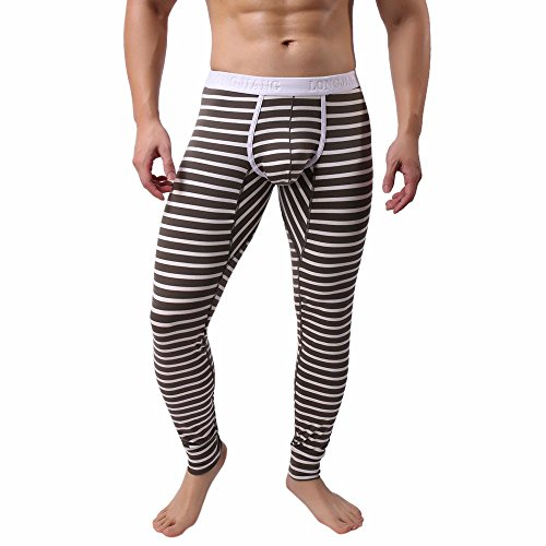 Napoo Best Thermal Pants for Men, 100% Cotton Ultra Soft Long Underwear Mens Long Johns Bottoms Warm Base Layer (Brown,L)