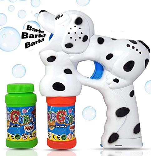 Haktoys Dalmatian Dog Bubble Shooter Gun | Ready to Play Puppy Light Up Blower w/ LED Flashing Lights, Extra Refill Bottle, Music & Barking Sound, Toy for Toddlers, Kids, Parties, Batteries Included