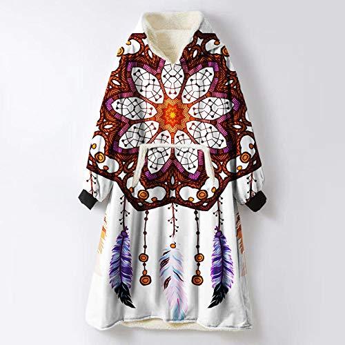 FDCSYP sweatshirt, abstract, dromenvanger, veren, bedrukt met Sherpa hoodie, zachte winterdeken, warme trui voor heren
