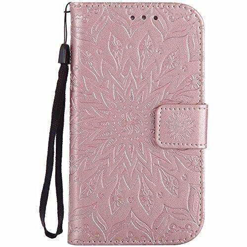 Dfly Custodia Galaxy S3 / S3 Neo, Premium PU Goffratura Mandala Design Pelle Chiusura Magnetica Flip Cover per Samsung Galaxy S3 / S3 Neo, Rosa Oro