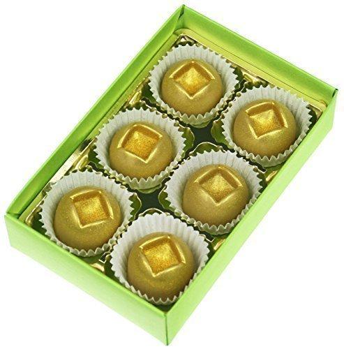 Greendoor natürliche Badepralinen Ingwer, 6er Geschenk-Karton für 6 Cremebäder, mit BIO Kakaobutter handgefertigte Naturkosmetik, Natur Badezusatz Geschenke Geburtstagsgeschenk