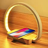 Bedside Table Lamp with USB Port, Table Light with Wireless Charger, Night Light with Touch Control 3 Color Modes&Stepless Dimming for Reading, Bedside, Bedroom, Living Room, Nightstands, Office Use