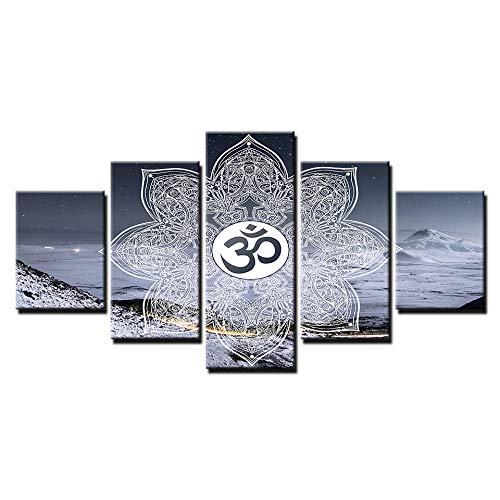 NO BRAND Arte de Lienzo religioso Om Símbolo Pintura Buda Yoga Cuadro de Pared para Sala de Estar Carteles e Impresiones 30x45cm-2p 30x60cm-2p 30x75cm-1p Sin Marco