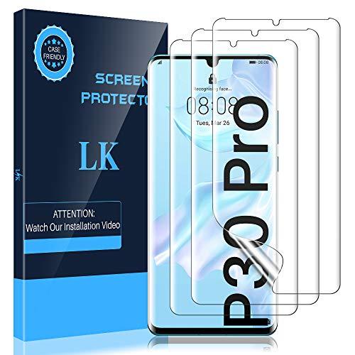 LK [3 Pezzi] Pellicola Protettiva per Huawei P30 PRO, [Copertura Massima] [Compatibile con la Custodia] [Senza Bolle] HD Trasparente Morbido TPU Silicone Pellicola