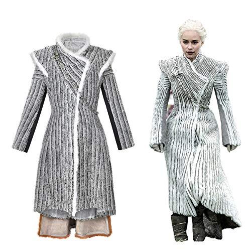 Ephemeral Carácter Partido de Las Mujeres Ropa de época Daenerys Targaryen Cosplay Juego de Tronos Caliente Vestido de Invierno Loikktg (Size : M)