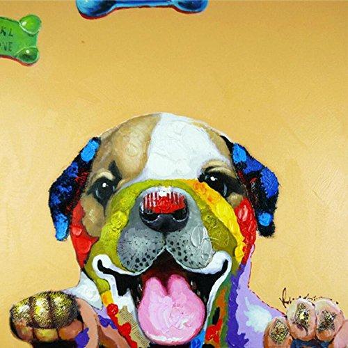 Vende a mano astratto puro dipinti a mano olio pittura cornice di cane sveglio