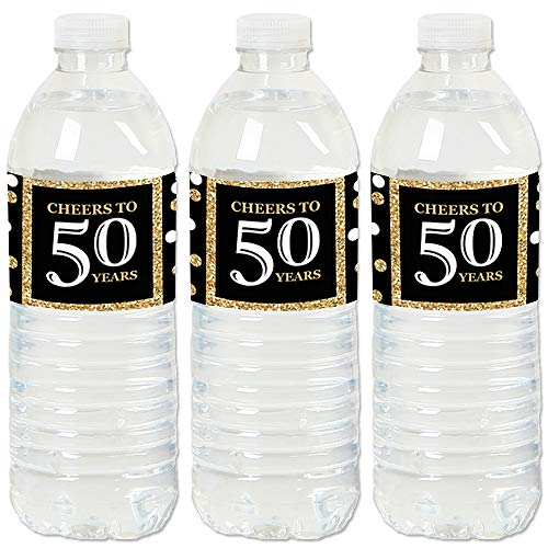 Adult 50th Birthday - Gold - Birthday Party Water Bottle Sticker Labels - Set of 20