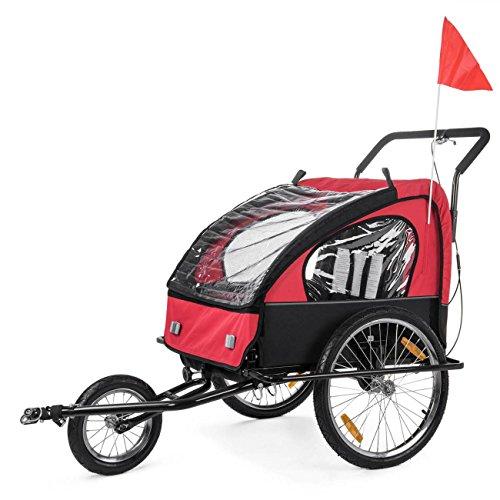 SAMAX Children Bike Trailer 2in1 Kids Jogger Stroller with Suspension Bicycle Trailer Transport Buggy Carrier for 2 Kids in Red Black - Black Edition