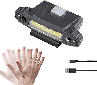 Strong Light COB Induction Cap Clip lamp Lighting Headlight USB Charging Head-Mounted Outdoor Headlight, Built-in Battery ...