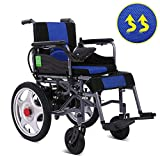 Silla de ruedas eléctrica portátil plegable ligera para silla de ruedas para discapacitados con sistema de asistencia de pendiente EPBS, batería de iones de litio de 12A Joystick de 360 °,Azul,12AH