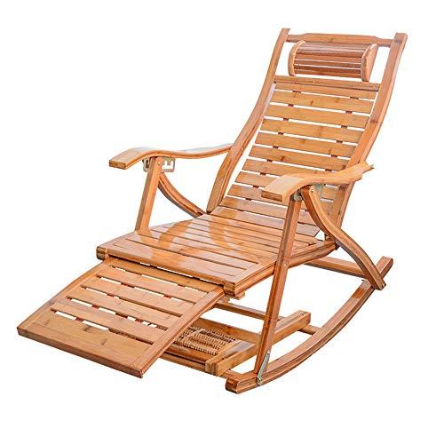 Mecedora, Sillón Plegable de bambú Tumbona Mecedora Tumbona reclinable Relajante Tumbona Asiento para Sala de Estar Patio Junto a la Piscina Camping Interior al Aire Libre