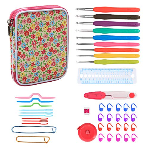 Teamoy Ergonomic Crochet Hooks Set, Knitting Needle Kit, Zipper Organizer Case With 9pcs 2mm to 6mm Soft Grip Crochets and Complete Accessories, Small Volume and Convenient to Carry, Flowers Pink