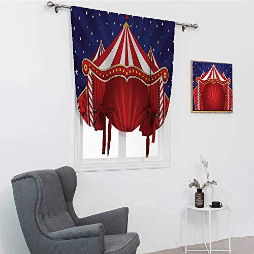 GugeABC Red Circus - Cortinas para niños, diseño de circo, escenario, teatro, bromas, payaso, alegre noche temática, impresión con bolsillo para barra, color azul marino, rojo, 76 x 162 cm