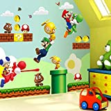 LIZHIOO Etiqueta de la Pared 3D Super Mario Bros Mural Etiqueta de la Pared extraíble calcomanías de Vinilo for niños Nursery Decor Art Nursery Decor Home Kids Room Decor