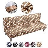 Mingfuxin - Copridivano senza braccioli in poliestere spandex elasticizzato futon a 3 posti, elasticizzato, per divano letto pieghevole senza braccioli Btc02 Cammello