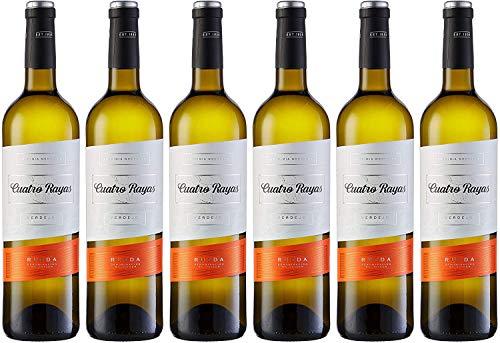 Cuatro Rayas Vino Blanco Verdejo Vendimia Nocturna D.O. Rueda - 6 Botellas de 750 ml (Total 4.5 L)