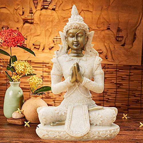 Estatua de Buda Escultura Tallada a Mano de Piedra Arenisca estatuilla artesanía para el hogar Altar Zen decoración Regalo de inauguración (C)