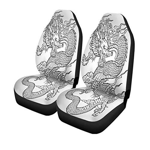 Auto Stoelhoezen Tattoo Traditie Aziatische Draak Japanse Chinese Tribal Patroon Japan Set van 2 Beschermers Auto Fit voor Auto