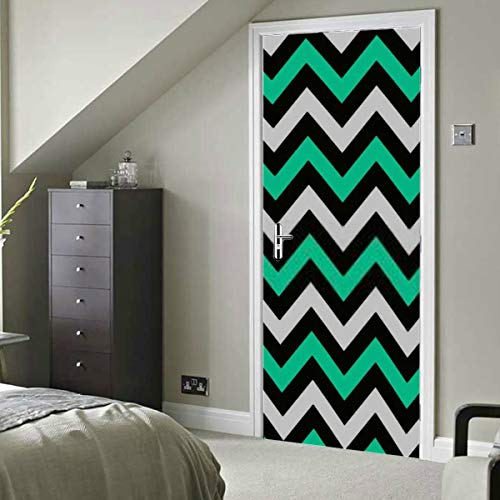 HJSHG Door Sticker Decal Mural Art Sticker Removable Self Adhesive Wall Decal White Teal Grey Chevron Albums Graphics Wallpaper Room Door Home Decor