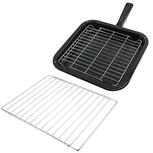 SPARES2GO Small Square Grill Pan, Rack & Detachable Handle with Adjustable Shelf for Cata Oven Cookers