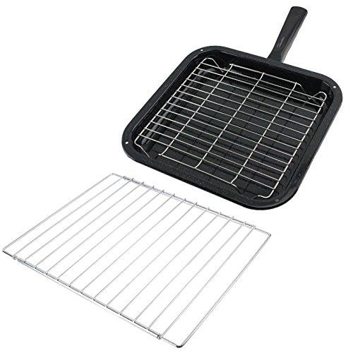 SPARES2GO kleine vierkante grillpan, rek & afneembaar handvat met verstelbare plank voor Prestige Oven Fornuizen