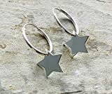 Sterling Silver 16mm Hoops with Stars, Gifts for Her