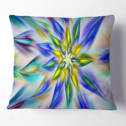 Designart Dancing Blue Fractal Flower Floral Throw Cushion Pillow Cover For Living Room Sofa 26 In X 26 In Shefinds