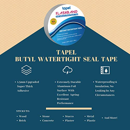 """Tapel Butyl Waterproof Tape - 2"""" X 16' - Leak Proof Long Lasting Watertight Rubber Putty Butyl Tape for RV Repair, Window, Silicone, Boat and Pipe Sealing, Glass & EDPM Rubber Roof Patching"""