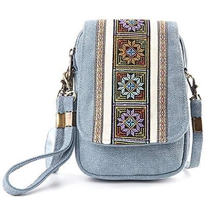 Mazexy Cellphone Embroidered Wristlet Bag Mini Crossbody Bag Nylon Wallets Purses