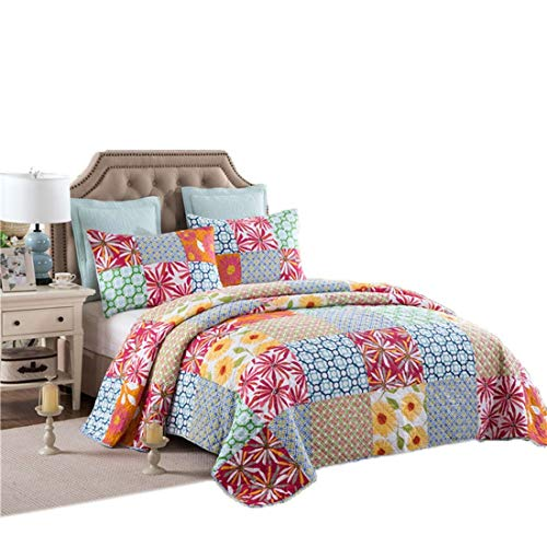 ManYHM Das Bett ist bedeckt mit DREI Stücken aus Reiner Baumwolle Plain Weave Quilt Gesteppte Bettbezug Klimaanlage. (Farbe : Multicolor)