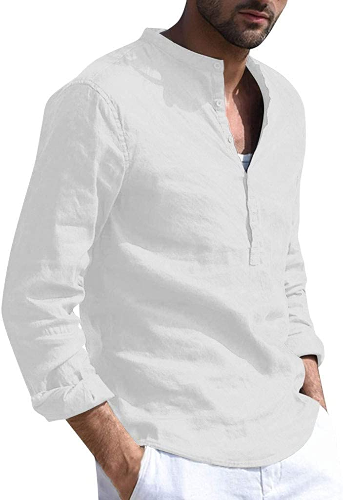 XXBR Cotton Linen Shirts for Mens, Fall Front Placket Button Long Sleeve Fashion Slim Fit Solid Casual Shirt Tops