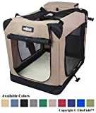 EliteField 3-Door Folding Soft Dog Crate, Indoor & Outdoor Pet Home, Multiple Sizes and Colors Available (24' L x 18' W x 21' H, Khaki)