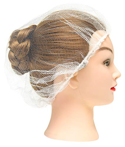 """100 Pack White Nylon Hairnets 18"""" Size. Disposable White Hairnets Hair Nets with Elastic Edge Mesh. Stretchable Hairnet Caps Lightweight, Breathable Wholesale Price."""
