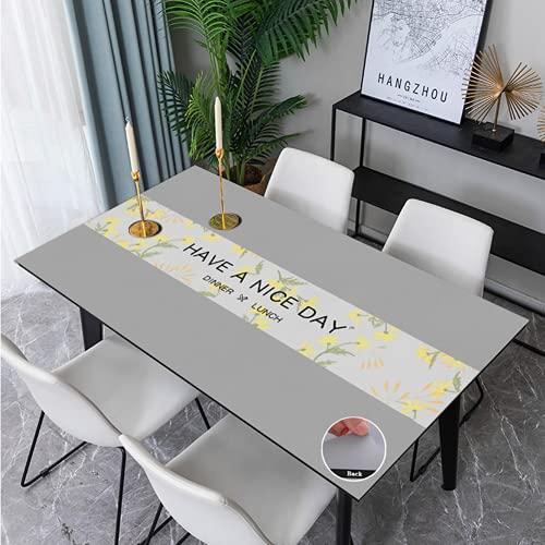 Mantel Antimanchas Manteles Rectangulares de Cuero Reutilizables Poliéster Tapete de Mesa Impermeable para Mesa Comedor y Cocina 60X120 cm
