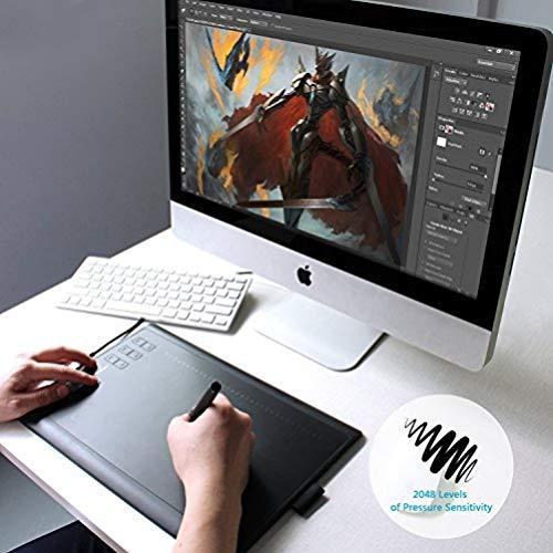 HUION® New 1060 Plus(2048) Grafiktablett mit 12 Express Tasten und Integriertem Card Reader