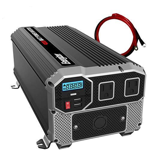 Energizer 4000 Watts Power Inverter 12V to 110V, Dual 110 Volt AC Outlets, Modified Sine Wave Car Inverter, Hardwire Kit, DC to AC Converter with Battery Cables - MET Approved to UL and CSA Standards