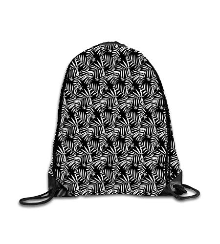 huatongxin Customized backpack Tropical Graphic Bohemian Floral Print with Leaves Inspired by Tropical Forest Nature Black White Fitness beam backpack, sports backpack, school bag