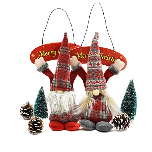 DSLFJ Christmas Gnomes Hang Decoration Handmade Christmas Elf Decorations Shopping Mall Christmas Tree Decoration Children#039s Plush Toys Family Door Hanging Decorations Thanksgiving Gifts 2pcsRed