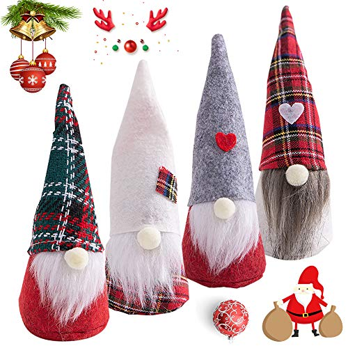 BESLIME Christmas Gnomes, Plush Santa GNOME Dwarf Decoration Christmas Party Gifts for Christmas Party Fireplace Tree Hanging Decoration, 4pcs