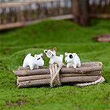 QULONG Adornos de jardín Accesorios de jardín en Miniatura para Exteriores Adornos, 3 Piezas de Perros pequeños de Resina para Bricolaje, jardín en Miniatura, terrario, casa de muñecas, decoración