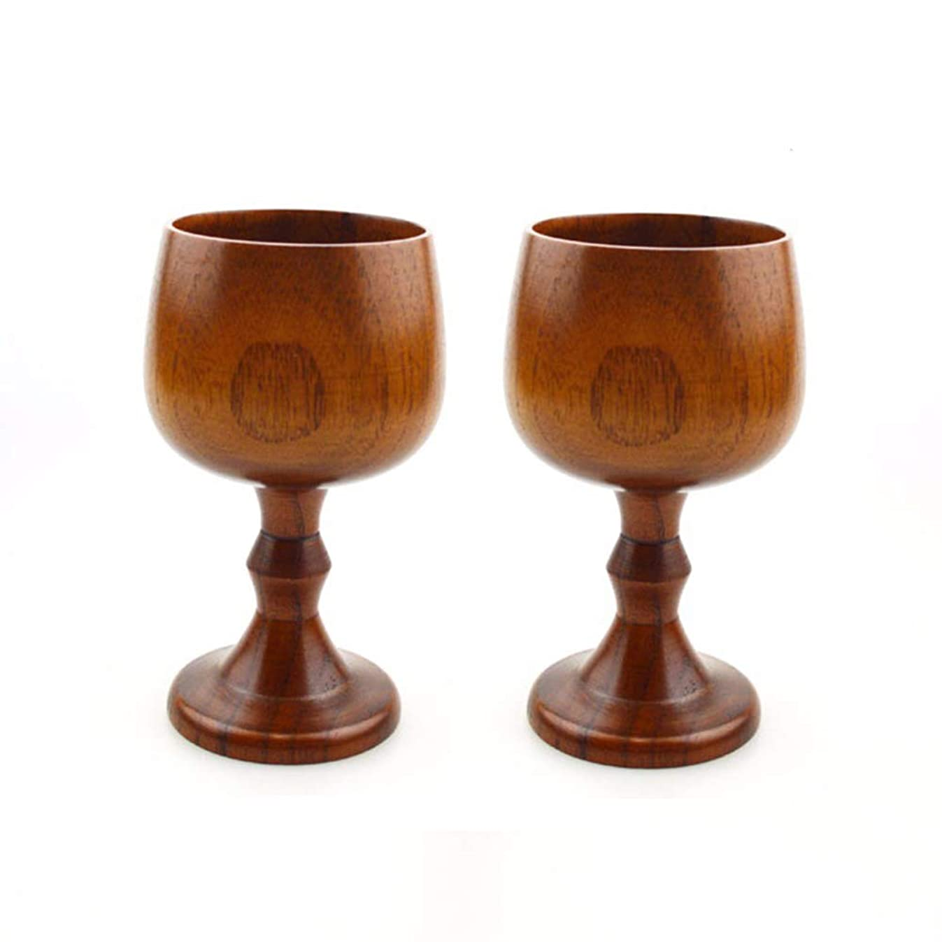Vintage Jujube Wooden Wine Goblet Drinking Cup Water Cup Kitchen Accessories, 5.3 oz(150ml), Pack of 2