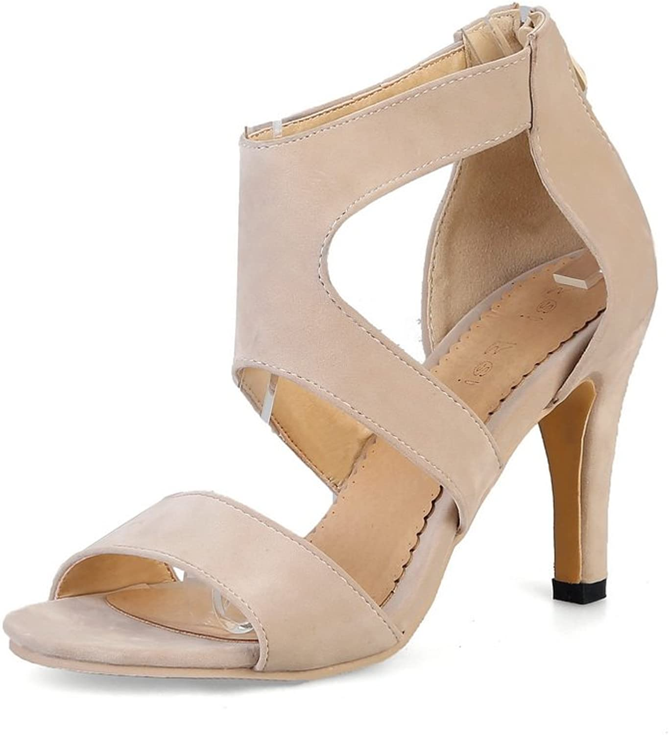 AdeeSu Womens Hollow Out Pointed-Toe Spikes Stilettos Microfiber Sandals SLC03333